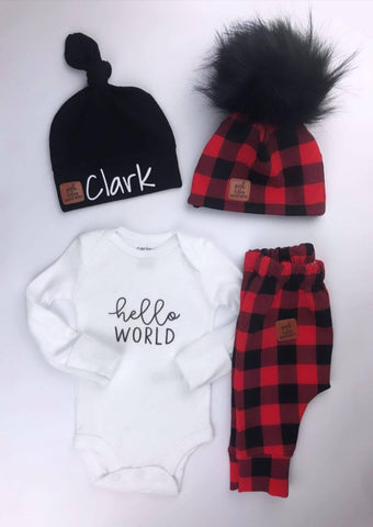 Take home baby outfit Plaid red & black