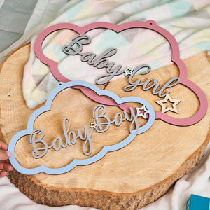Personalised Wooden Cloud Sign - Pastel Palette