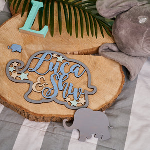 Personalised Wooden Elephant Sign