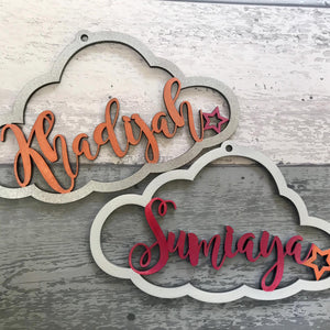 Personalised Wooden Cloud Sign - Vibrant Colour Palette