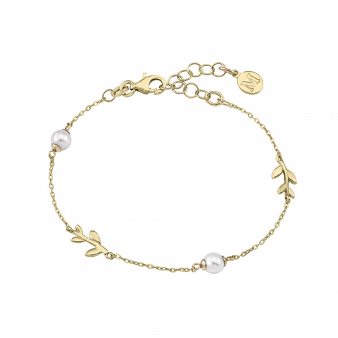 Majorica - Gold Plated White Round Pearls Leaf Bracelet #6139322