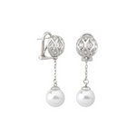 Majorica - Round White Pearls & CZ long omega earrings #6131299