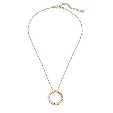 Majorica - Open Circle Pendant In Gold Plated Silver with CZ & pearls #6139334