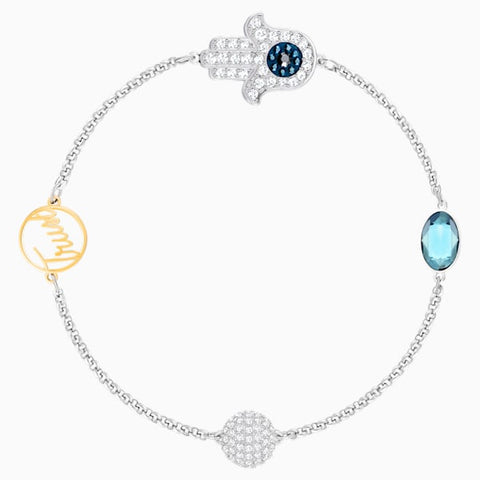 Swarovski - Remix Collection Hamsa Hand Strand, Blue, Mixed metal finish #6135849
