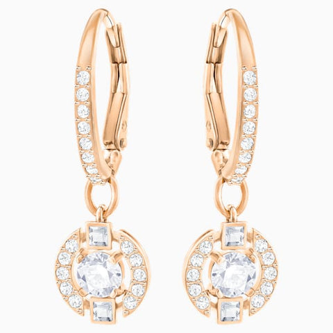 Swarovski - Sparkling Dance Round Pierced Earrings, White, Rose-gold tone plated #6135782