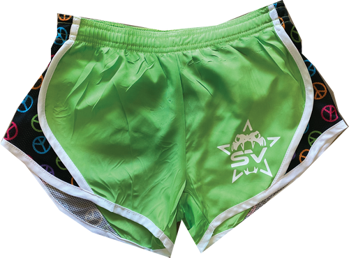 3. NEON GREEN PEACE SIGN RUNNER SHORTS