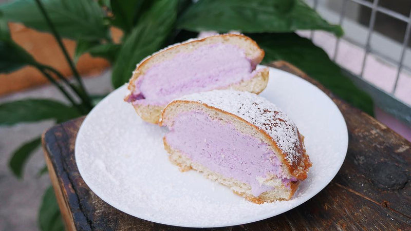UBE BILOG AKA FILIPINO MILKBUN HOT ICE CREAM SANDWICH