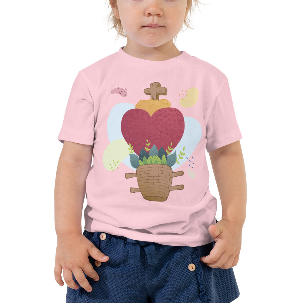 Oaxacan Flower Basket  Toddler Short Sleeve Tee - Corazón Clothing