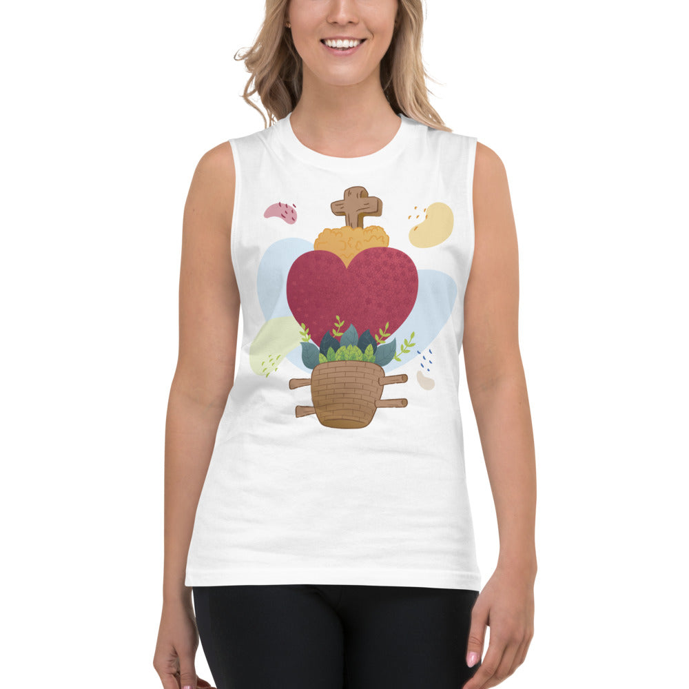 Oaxacan Flower Basket Muscle Shirt - Corazón Clothing