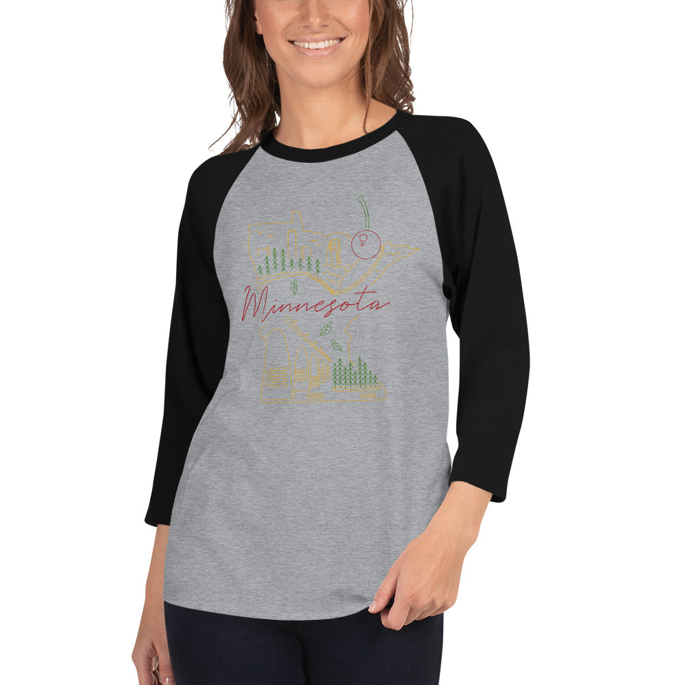 All of Minnesota 3/4 Sleeve Raglan Shirt - Corazón Clothing