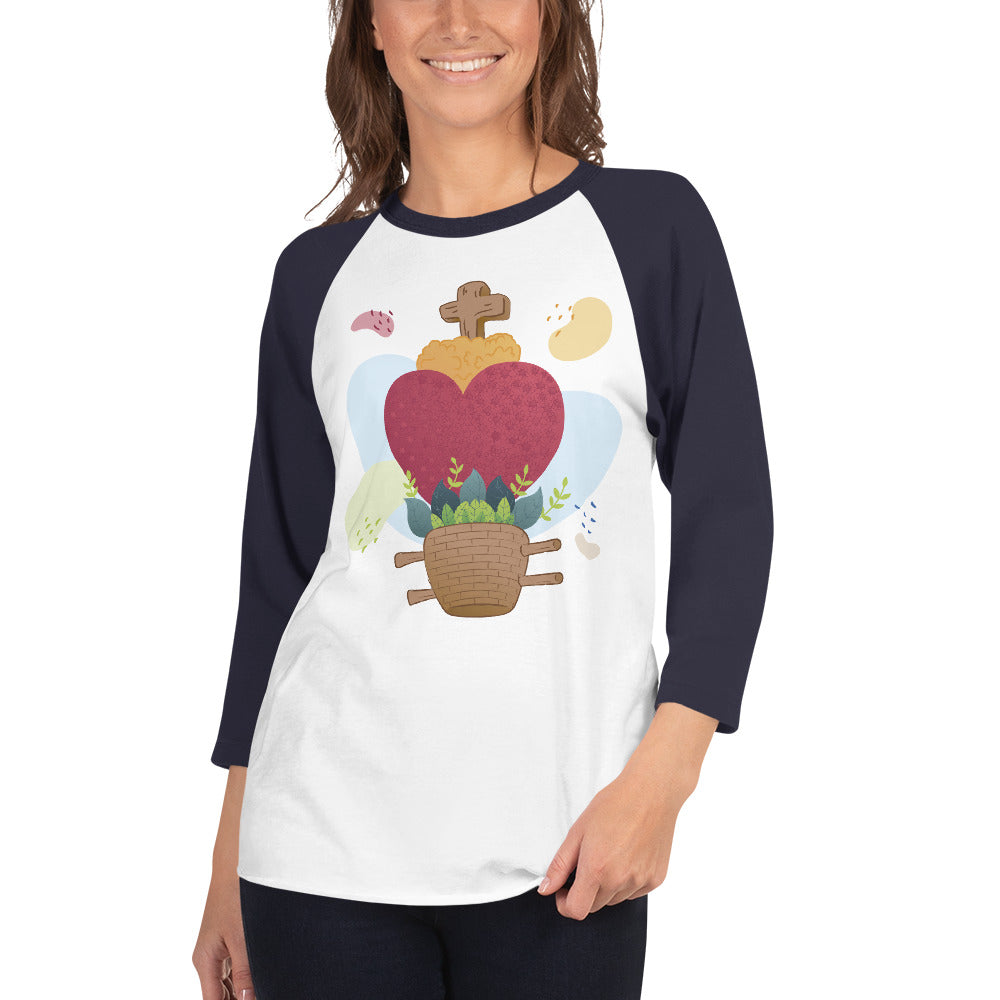 Oaxacan Flower Basket 3/4 Sleeve Raglan Shirt - Corazón Clothing