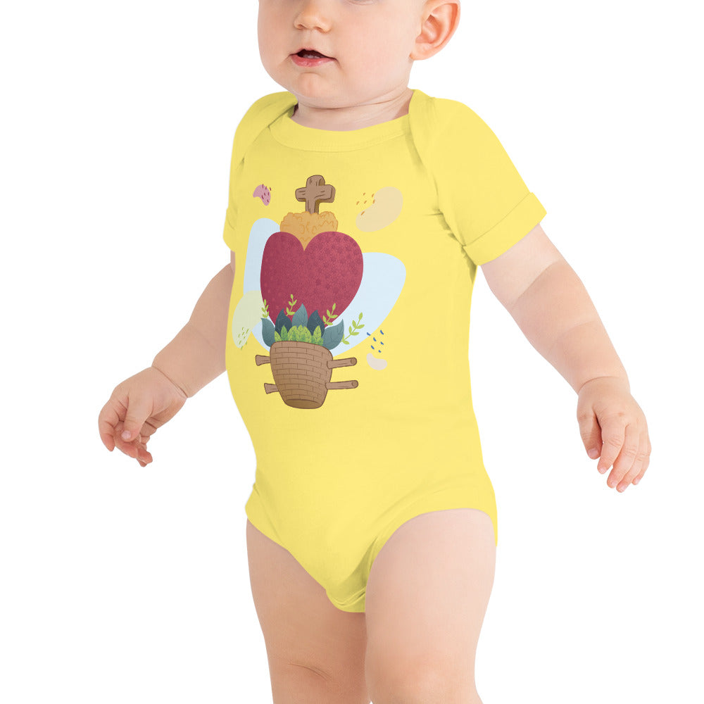 Oaxacan Flower Basket Infant Short Sleeve Bodysuit - Corazón Clothing