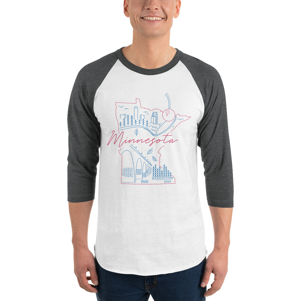 All of Minnesota Too 3/4 Sleeve Raglan Shirt - Corazón Clothing
