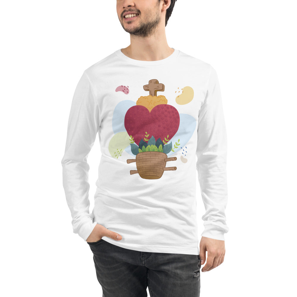 Oaxacan Flower Basket Long Sleeve Tee - Corazón Clothing