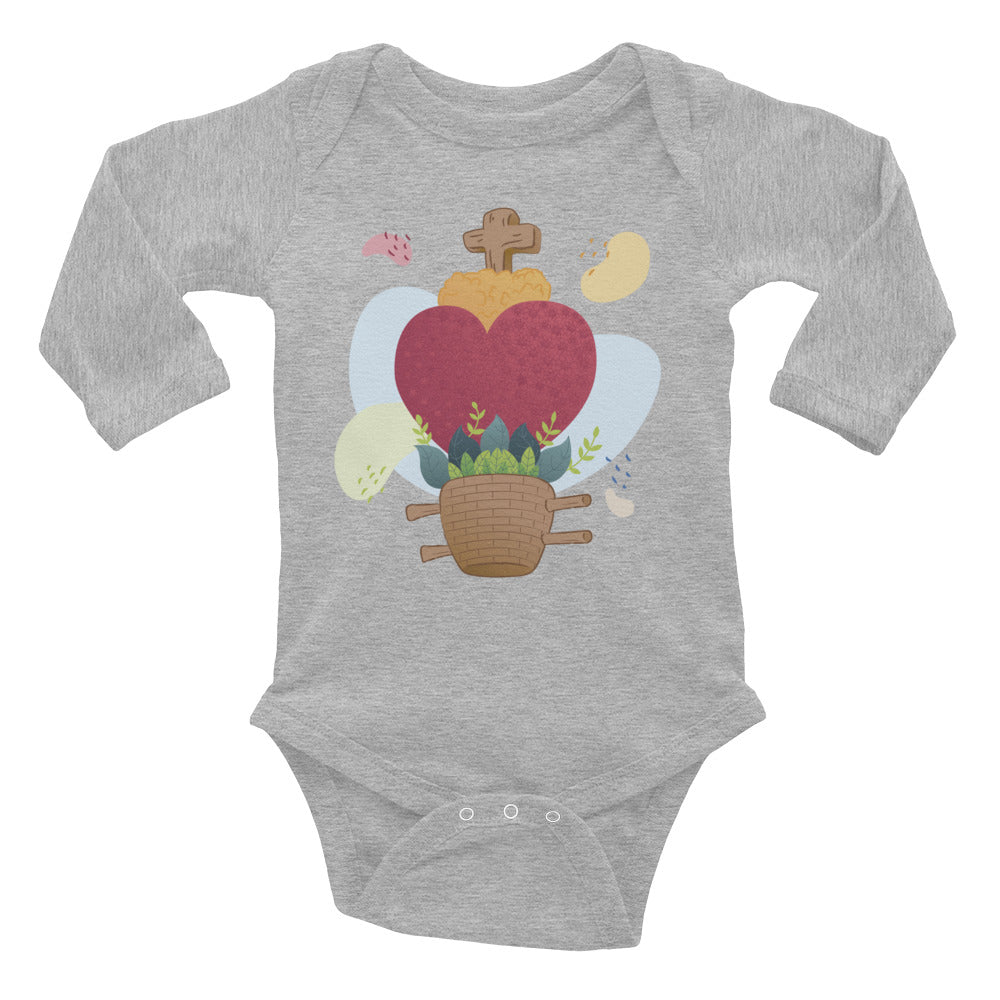 Oaxacan Flower Basket  Infant Long Sleeve Bodysuit - Corazón Clothing