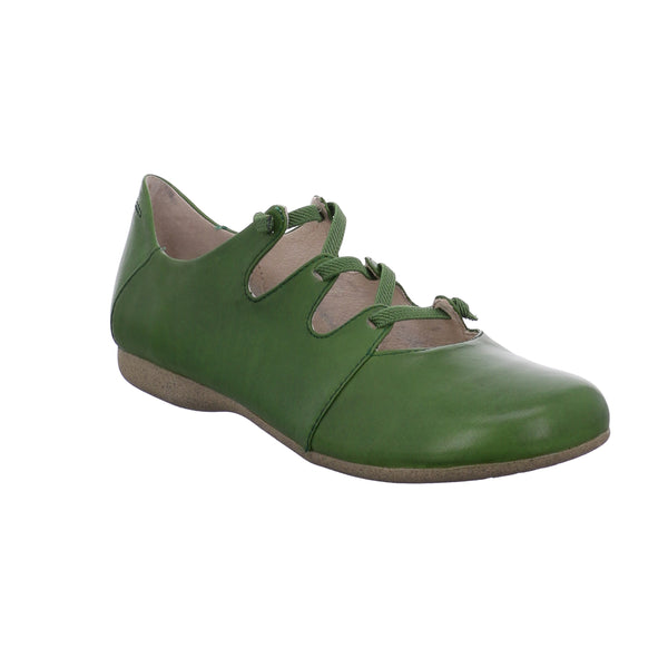 Fiona 04 Green leather slip on shoe with lace up detail