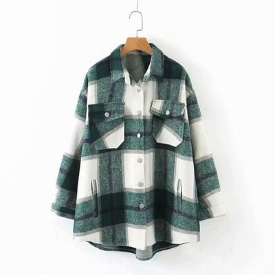 MAVERIE Oversized Plaid Flannel Outerwear Jacket