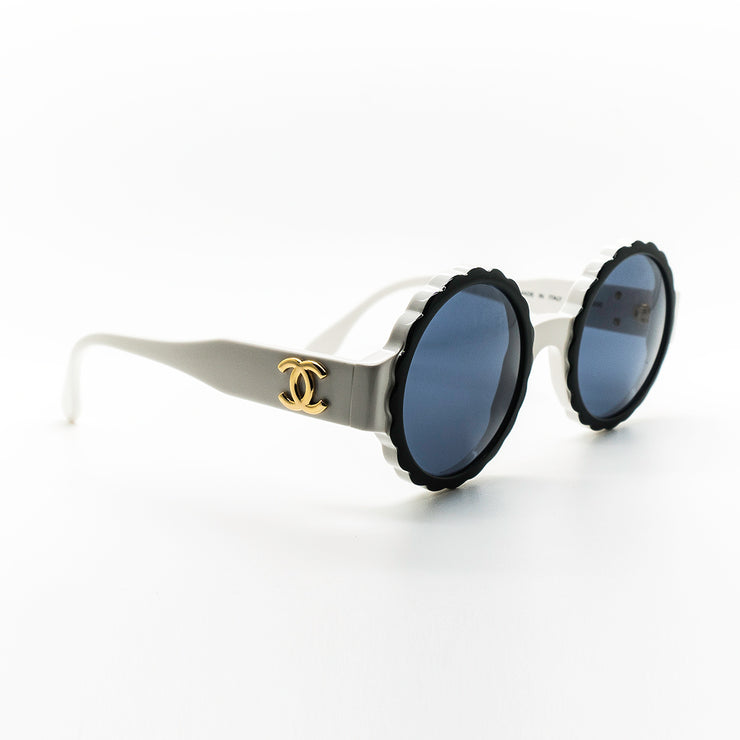 Chanel Vintage Round Flower Sunglasses White Frame