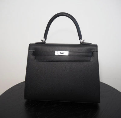 HERMÈS KELLY 25 BLACK EPSOM PALLADIUM HARDWARE