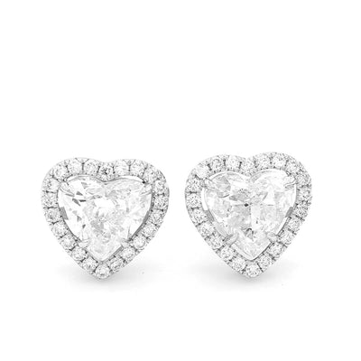 2.71ct Heart Diamond Earrings