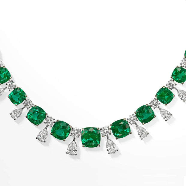 Natural Green Zambia Emerald Necklace