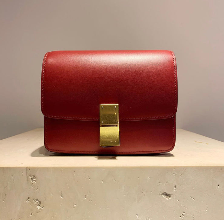 'Old Céline' Small Classic Box Bag Red