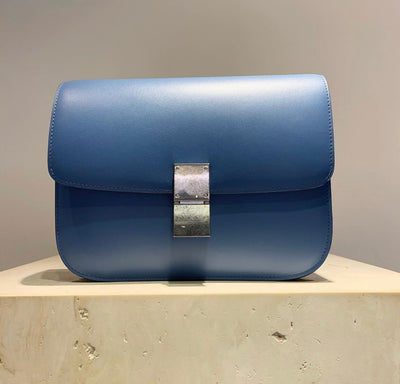 'Old Céline' Medium Classic Box Bag Blue