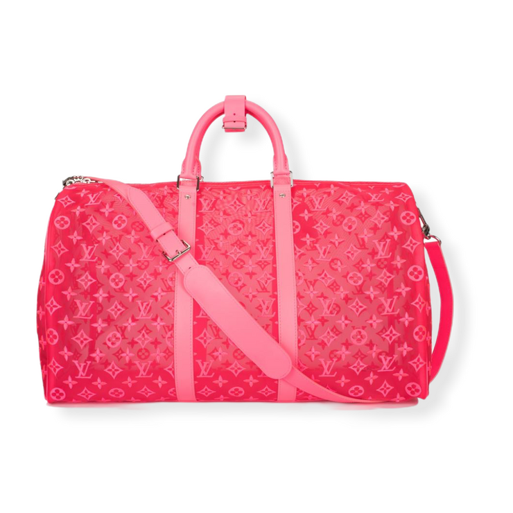 Louis Vuitton Keepall 50 Bandouliere Mesh Monogram Pink