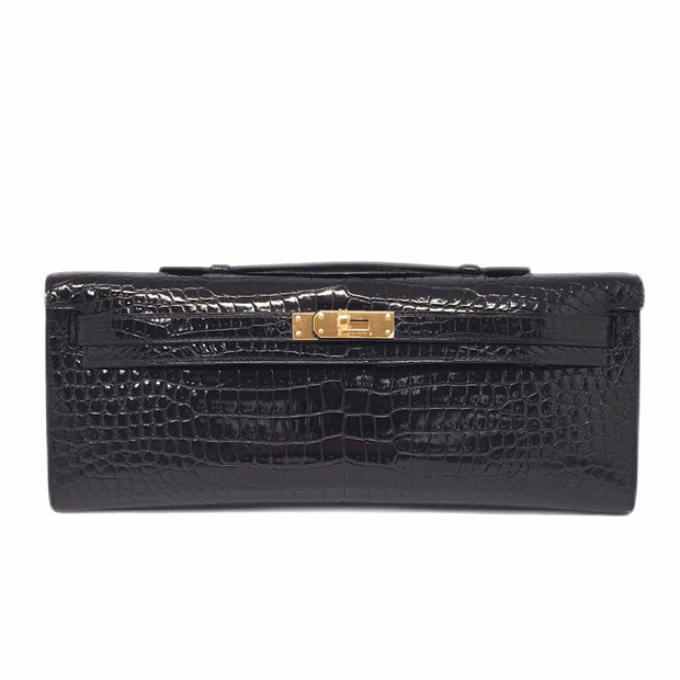 Hermès Kelly Cut Black Shiny Crocodile Porosus Gold Hardware