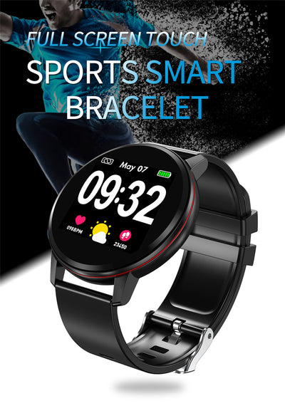 Sports smartwatch bracelet with full touch screen in black