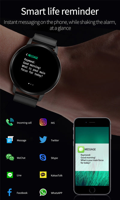 Smartwatch bracelet with full touchscreen feature to access many apps and set smart life reminder