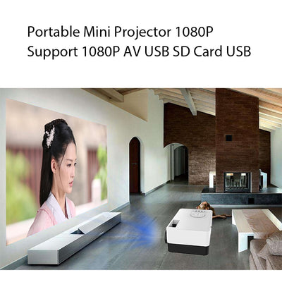 Portable Beamer Mini Projector 1080P to support AV USB Card for watching in your living room