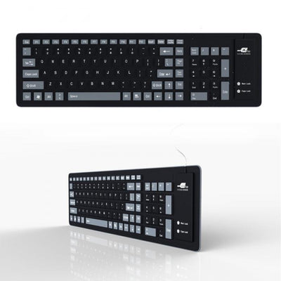 New Foldable Silicone Keyboard USB Wired in black