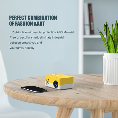 Portable Beamer Mini Projector 1080P yellow-white with smartphone connectivity