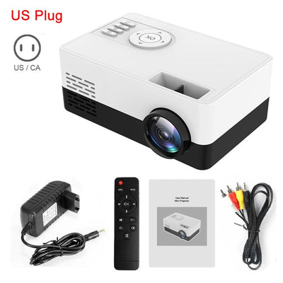 Portable Beamer Mini Projector 1080P with adaptor, remote and wired connectivity in white-black color