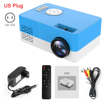 Portable Beamer Mini Projector 1080P with adaptor, remote and wired connectivity in blue-white color