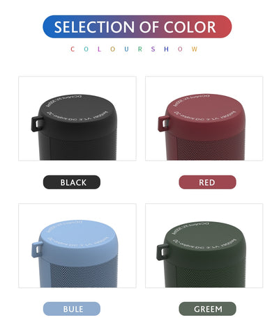 Black, red, blue and green color portable speaker