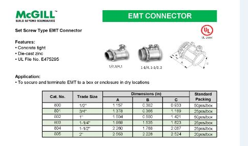 "McGill EMT Connector (Set-Screw) 1-1/4"" Model# 803"