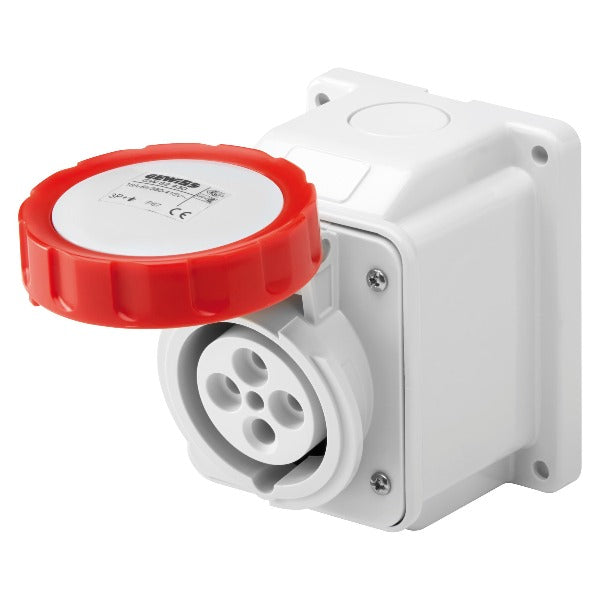 Gewiss 10° Angled Surface-Mounting Socket-Outlet IP67 - 3P+E 32A 380-415V 50/60HZ - RED - 6H Model# GW62441