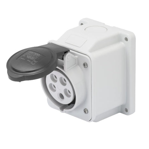 Gewiss 10° Angled Surface-Mounting Socket-Outlet- IP44 - 3P+E 32A 480-500V 50/60H Model# GW62421