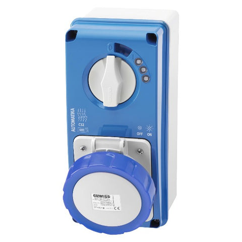 Gewiss Vertical Interlocked Socket Outlet 6KA Curve C - with Bottom 2P+E 16A 230V 6H - IP67 Model# GW66054N