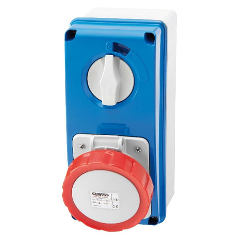 Gewiss Vertical Interlocked Socket Outlet with Bottom 3P+E 32A 380-415V - 50/60HZ 6H - IP67 Model# GW66219N
