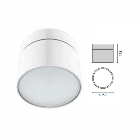 Performance IN Lighting Ceiling mounted Fixture, Logo Round 150, LED 4000K Model# 303186