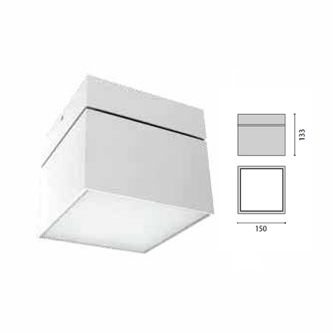 Performance IN Lighting Ceiling mounted Fixture, Logo Square 150, LED 3000K Model# 303196
