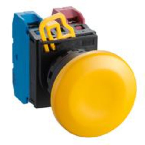 IDEC Pushbutton 22MMØ YW Mushroom 1NC Momentary, RED Model# YW1B-M4E01R