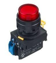 IDEC Illum.(LED) Pushbutton Switch, 22mm, Extended, Momentary, 1NC, 110VAC/DC, Red  Model# YW1L-M2E01QHR