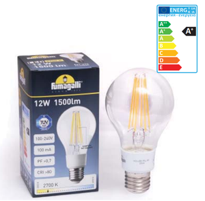 Fumagalli LED Filament Lamp 12W 1500lm 2700K E27 Model# H3.LED.F1L.3K