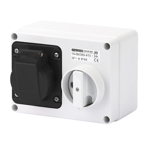 Gewiss Fixed Interlocked Horizontal Socket Outlet with Bottom without fuse holder base 3P+E 16A 480-500V - 50/60HZ 7H - IP44 Model# GW66010