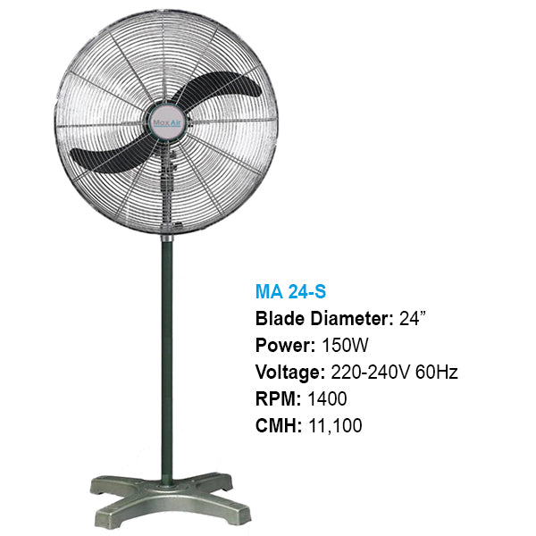 "MaxAir Industrial Stand Fan 24"" Model# MA24-S"