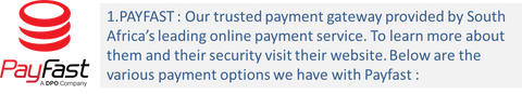 Payfast is our trusted payment gateway provider at rebelroad.co.za. For secure online shopping in South AFrica